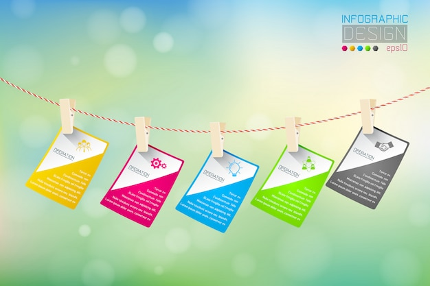 Infografía de negocios con 5 pasos en el fondo de la naturaleza.