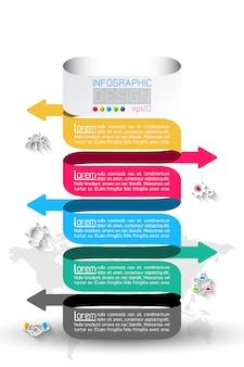 Infografía de negocios con 5 pasos.