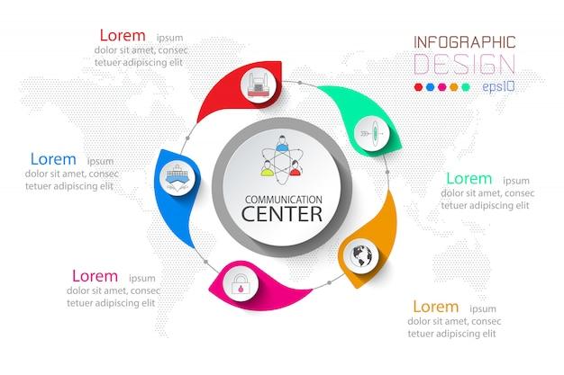 Infografía de negocios de 5 pasos