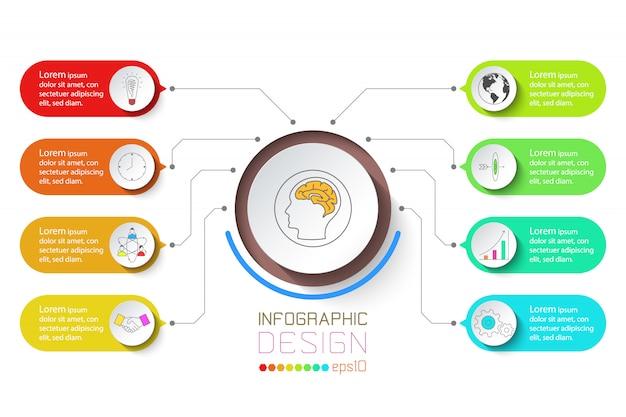 Infografía de negocios con 8 pasos.
