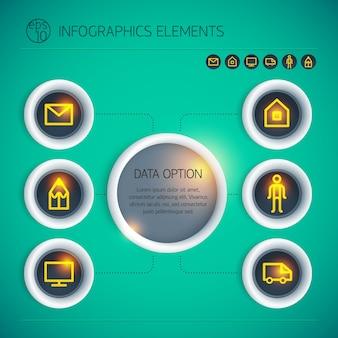 Infografía de negocios abstracto con círculos de texto opciones de iconos de neón naranja sobre fondo verde aislado