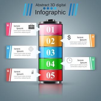 Infografía de negocios de baterías.