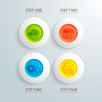 Infografía de negocios con círculos de colores e iconos planos