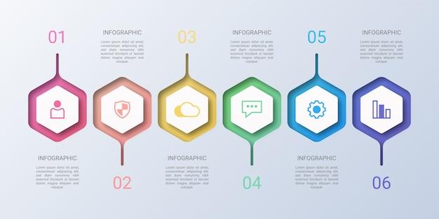 Infografía de negocios colorido hexágono