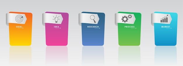 Infografía de negocios coloridos pasos con icono sobre fondo gris para presentación, flujo de trabajo, proceso.