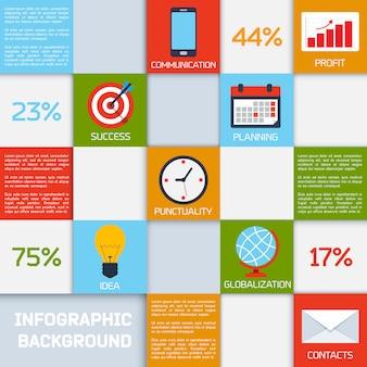 Infografía de negocios cuadrados de color