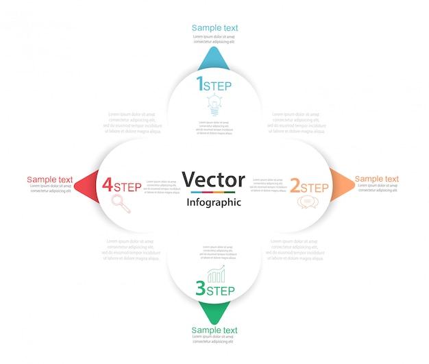 Infografía de negocios con cuatro elementos redondos de papel blanco con flechas o punteros
