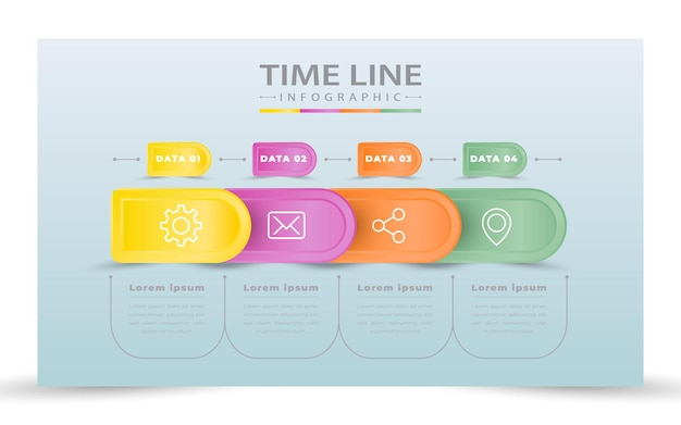 Infografía de negocios de cuatro pasos.