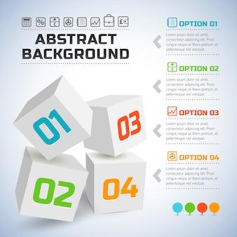 Infografía de negocios con cubos 3d blancos y números coloridos