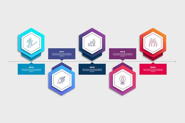 Infografía de negocios degradado de línea de tiempo