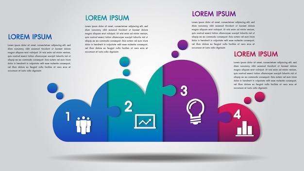 Infografía de negocios de diseño en nube 4 pasos.