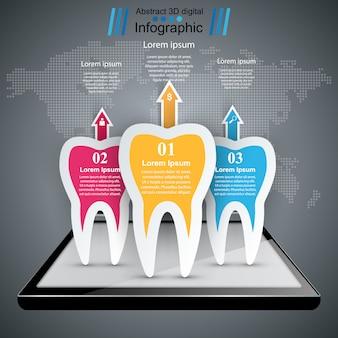 Infografía de negocios estilo origami. icono de diente