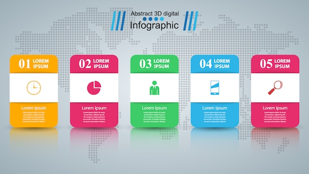 Infografía de negocios estilo origami