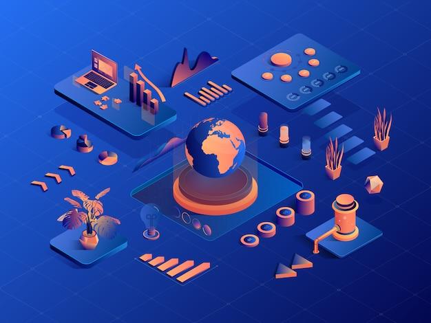 Infografía de negocios geométrica isométrica con diagrama y gráficos. negocios 3d, financieros, marketing.