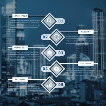 Infografía de negocios con gran ciudad en segundo plano.