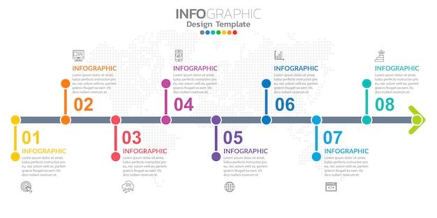Infografía para negocios con iconos y opciones o pasos.