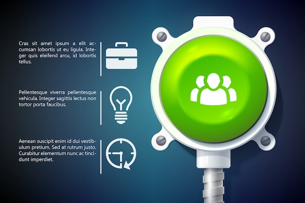 Infografía de negocios con iconos de texto y botón redondo verde sobre soporte metálico aislado