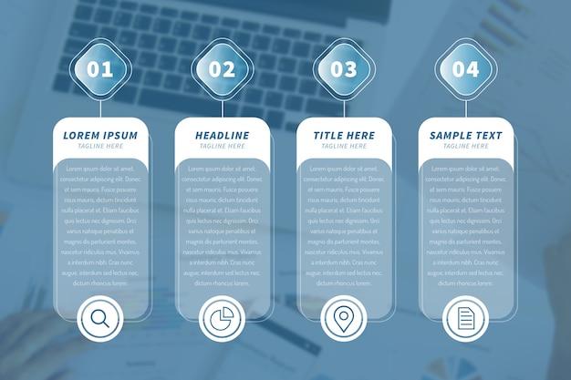 Infografía de negocios con laptop en segundo plano.