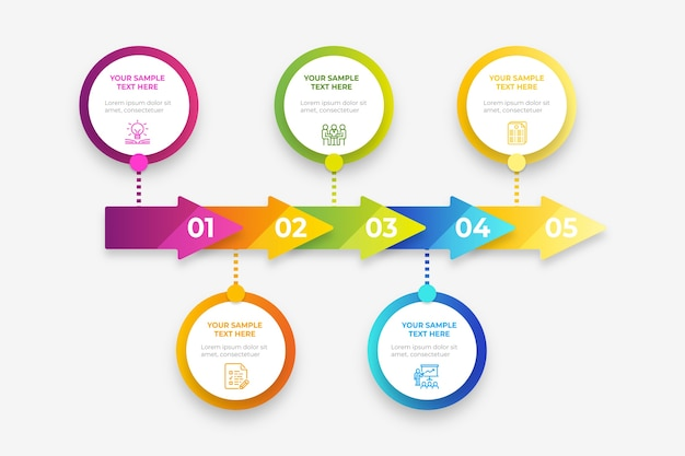 Infografía de negocios de línea de tiempo gradiente