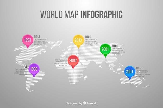 Infografía de negocios con mapa mundial