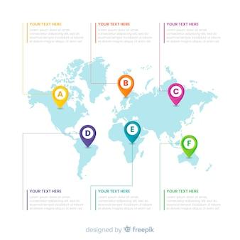 Infografia de negocios con mapa mundial