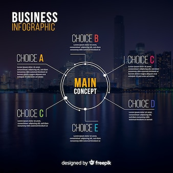 Infografía de negocios moderna con foto