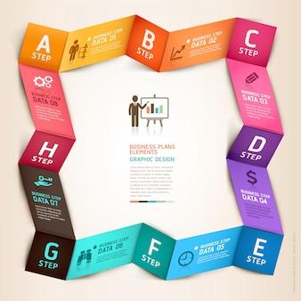 Infografía de negocios moderno plantilla de origami.