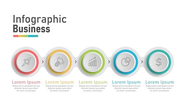 Infografía de negocios modernos cinco pasos