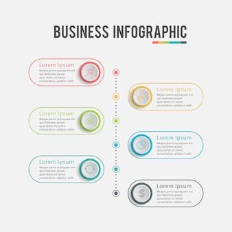 Infografía de negocios modernos seis pasos