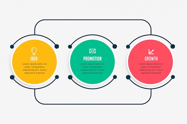 Infografía de negocios pasos en estilo de línea