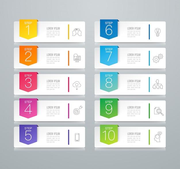 Infografía de negocios con pasos y opciones.