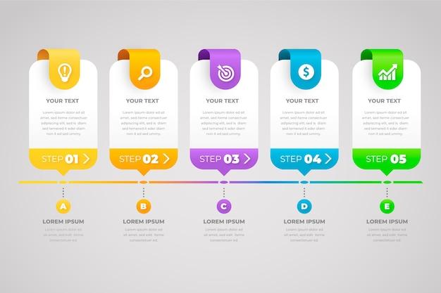 Infografía de negocios de pasos