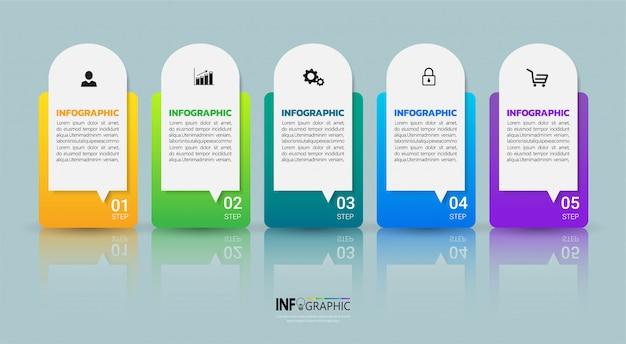 Infografía de negocios plantilla de cinco pasos.