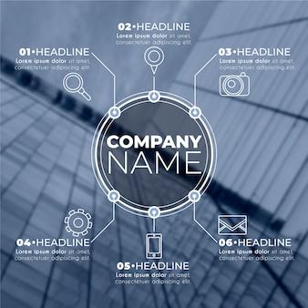 Infografía de negocios con plantilla de foto