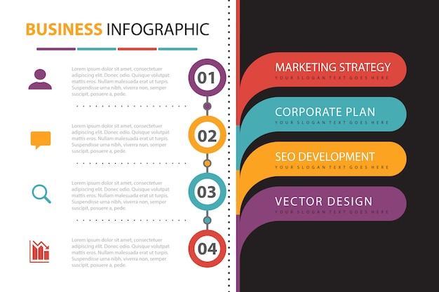 Infografía de negocios con presentación de elementos.