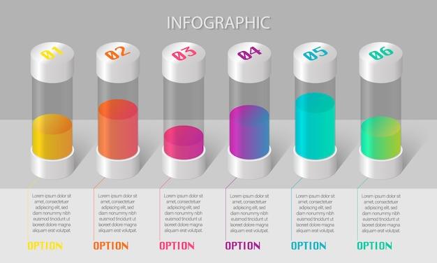 Infografía de negocios con seis tubos de ensayo coloridos y lugar para texto sobre fondo gris