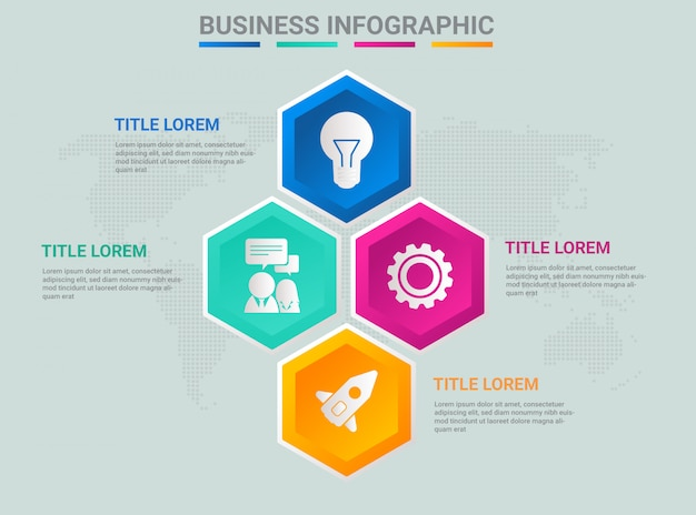 Infografía de negocios a todo color degradado