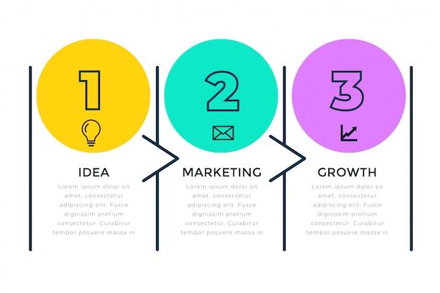 Infografía de negocios de tres pasos en estilo de línea.