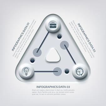 Infografía de negocios web abstracto con triángulo de tres pasos