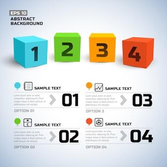 Infografía con números y cubos de colores 3d