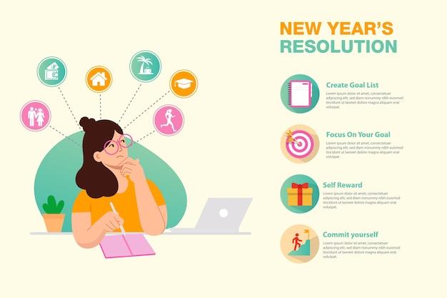 Infografía de objetivos y resolución de año nuevo. mujer joven con lápiz escribe metas y propósitos para año nuevo.
