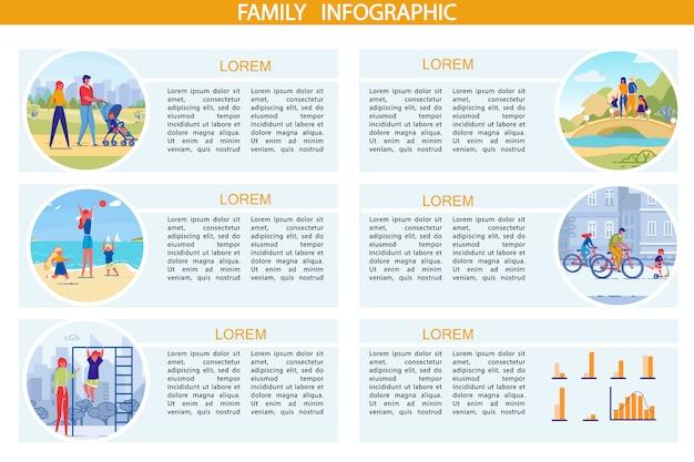 Infografía de ocio familiar y deporte conjunto