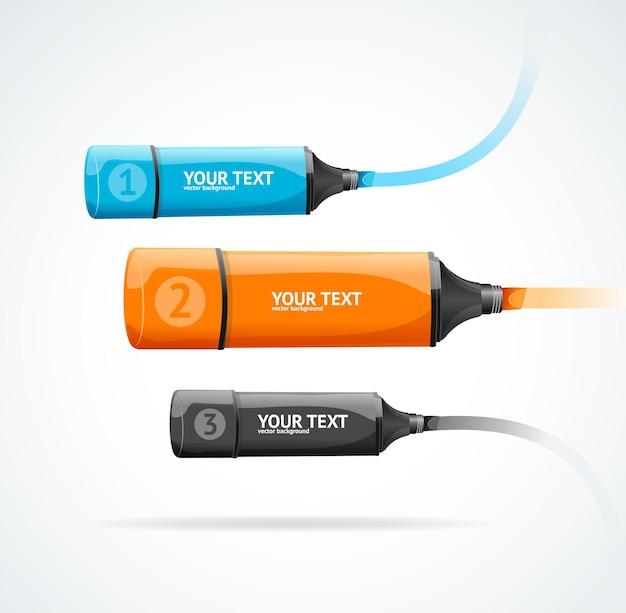 La infografía de la opción de resaltador de marcador se puede utilizar para el diseño del flujo de trabajo.