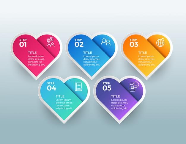 Infografía con opciones de 5 pasos en formas de amor