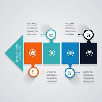 Infografía con opciones y forma de flecha