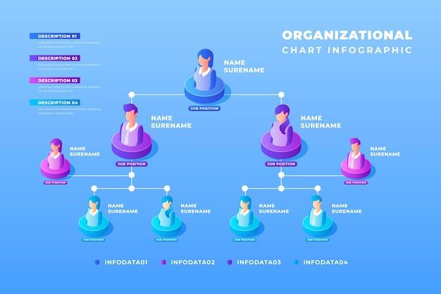Infografía de organigrama isométrico