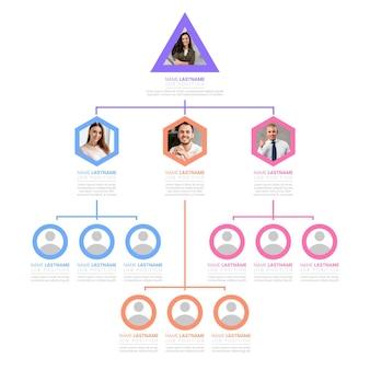 Infografía de organigrama plano con foto