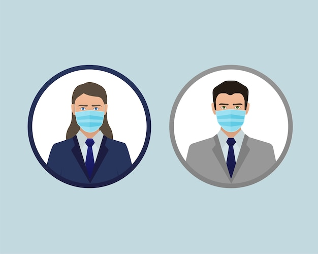 Infografía de la pandemia de coronavirus. máscara de contaminación facial. cuarentena por coronavirus. icono de máscara médica. prevención contra el coronavirus. protección contra el coronavirus .