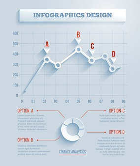 Infografía de papel 3d, gráfico con largas sombras. ilustración vectorial