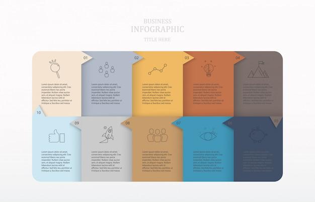 Infografía de papel de colores con 10 pasos o procesos e iconos.